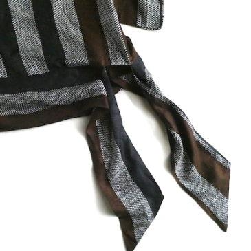 70's brown black stripe tops & 80〜90's navy cotton long skirt
