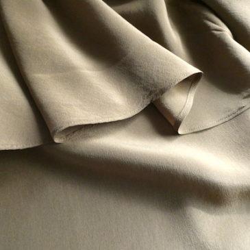 90's brown silk ruffle back blouse & used orange brown pattern skirt
