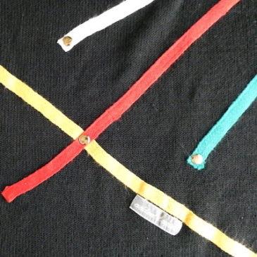 90's multi color line black tops & 80's blue corduroy wrap skirt